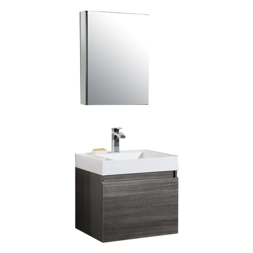Aquamoon Venice 24 Infinity Sink Maple Grey  Wall Mounted Modern Bathroom Vanity Set