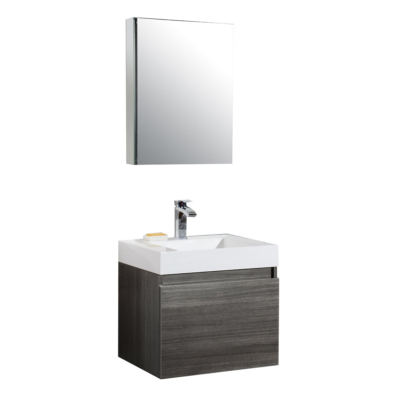 Aquamoon Venice 24 Sink Maple Grey  Wall Mounted Modern Bathroom Vanity Set