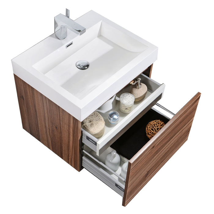 Aquamoon Venice 24 Sink Walnut  Wall Mounted Modern Bathroom Vanity Set