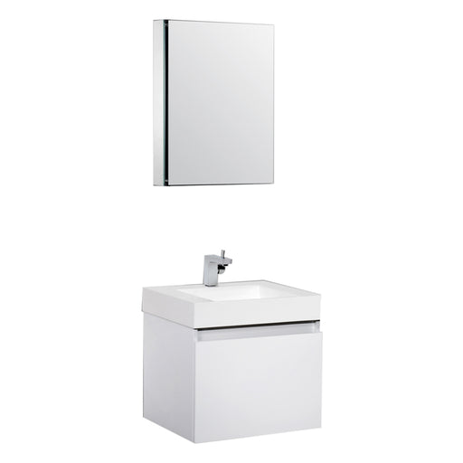 Aquamoon Venice 24 Infinity Sink White Wall Mounted Modern Bathroom Vanity Set - Bath Trends USA