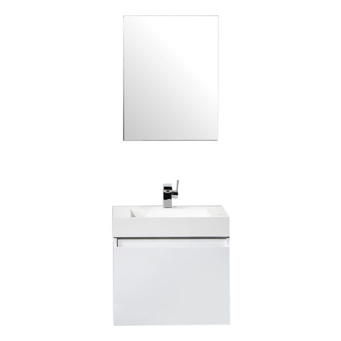 Aquamoon Venice 24 Infinity Sink White  Wall Mounted Modern Bathroom Vanity Set