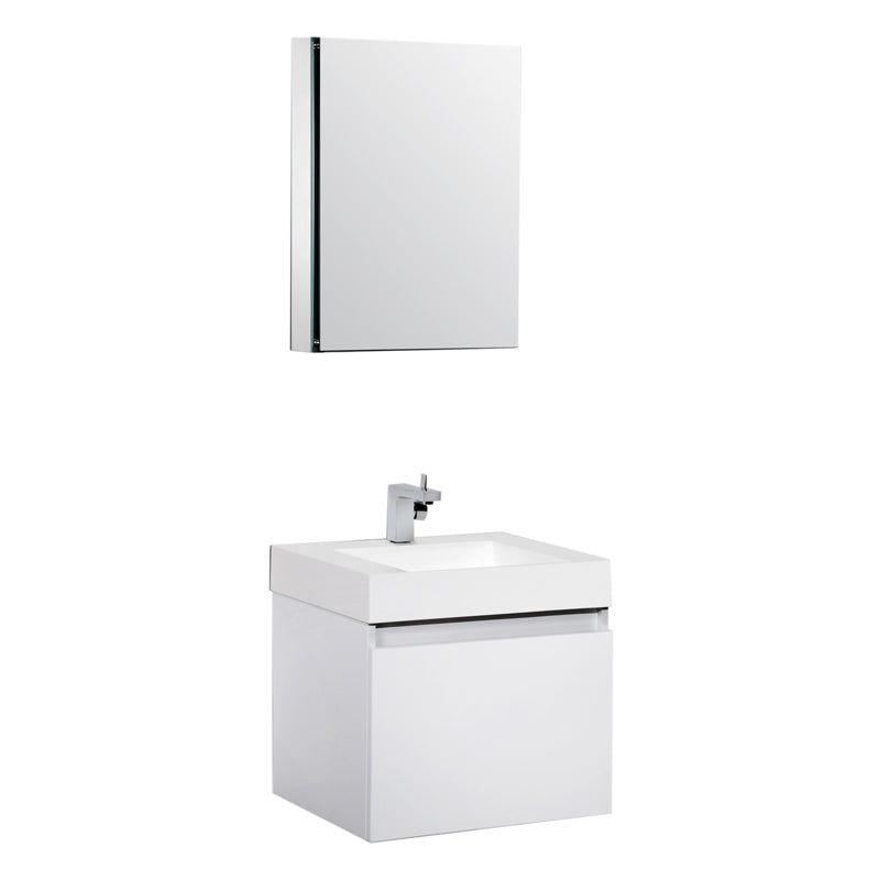 Aquamoon Venice 24 Sink White  Wall Mounted Modern Bathroom Vanity Set