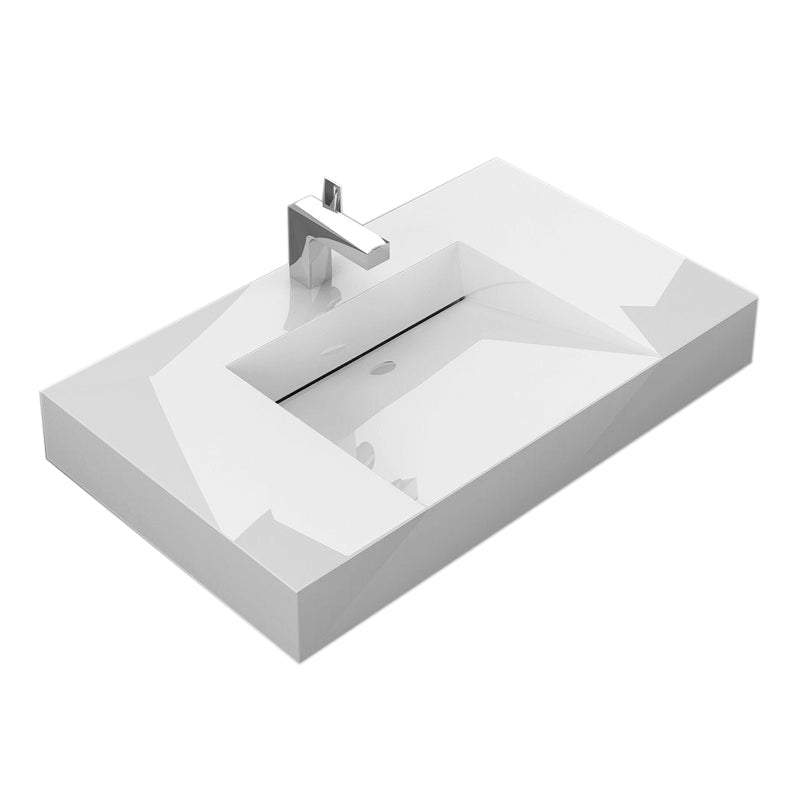 "Aquamoon Venice 31"" Integrated Countertop White Infinity Sink - Bath Trends USA"