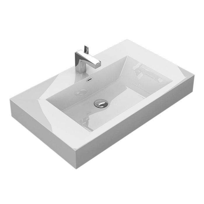 "Aquamoon Venice 31"" Integrated Countertop White Square  Sink"