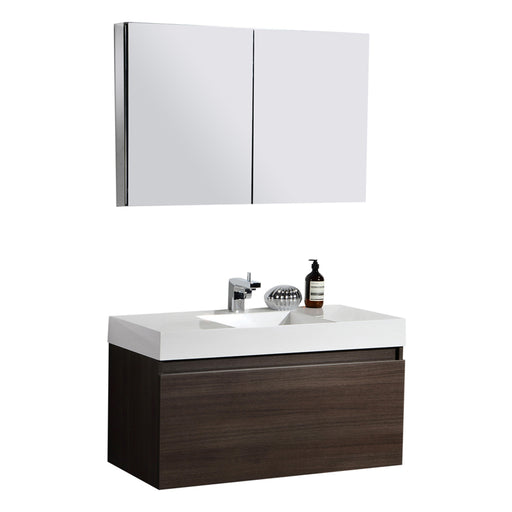 Aquamoon Venice 31 Sink Maple Grey Wall Mounted Modern Bathroom Vanity Set - Bath Trends USA