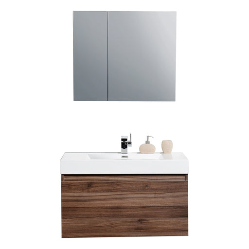 Aquamoon Venice 31 Infinity Sink Walnut Wall Mounted Modern Bathroom Vanity Set - Bath Trends USA