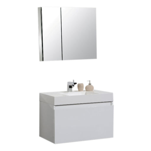 Aquamoon Venice 31 Infinity Sink White  Wall Mounted Modern Bathroom Vanity Set