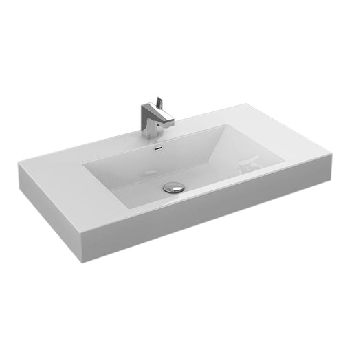 "Aquamoon Venice 36"" Integrated Countertop White Square  Sink"