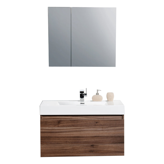 Aquamoon Venice 36 Walnut Wall Mounted Modern Bathroom Vanity Set