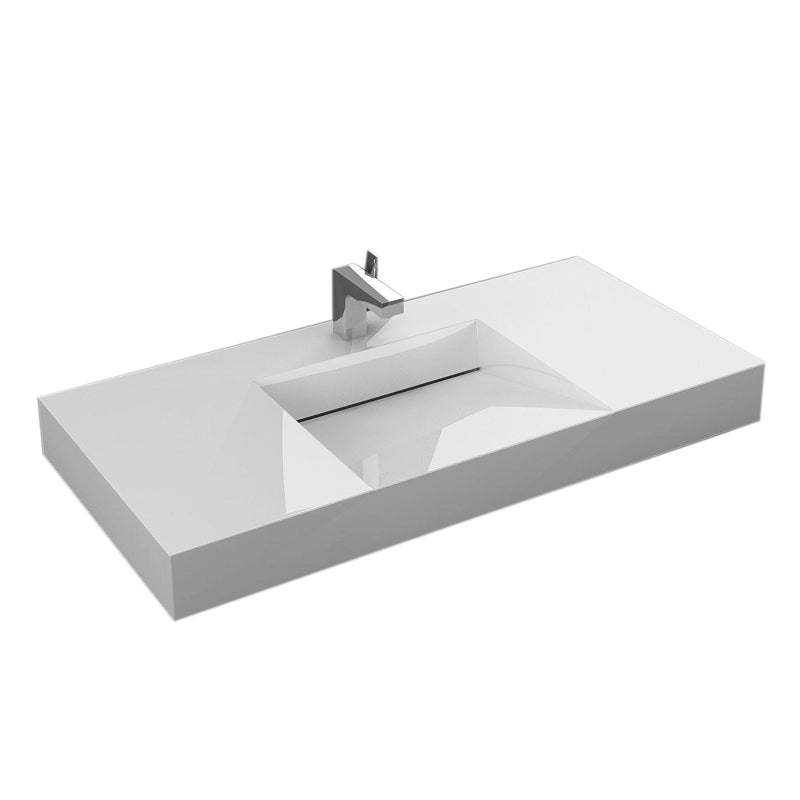 "Aquamoon Venice 39"" Integrated Countertop White Infinity  Sink"