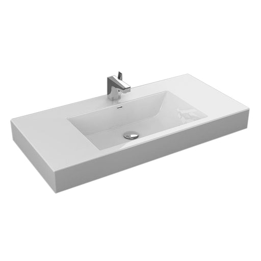 "Aquamoon Venice 39"" Integrated Countertop White Square  Sink"