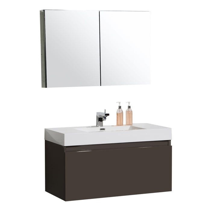 Aquamoon Venice 39 Sink Grey Brown Wall Mounted Modern Bathroom Vanity Set