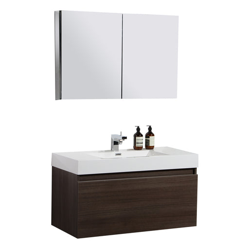 Aquamoon Venice 39 Infinity Sink Maple Grey  Wall Mounted Modern Bathroom Vanity Set