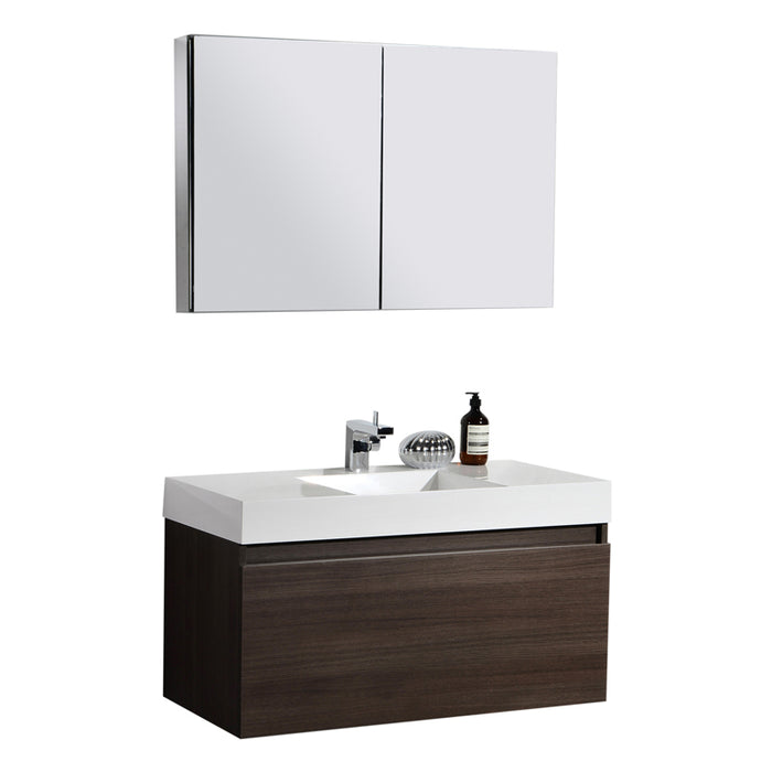 Aquamoon Venice 39 Sink Maple Grey  Wall Mounted Modern Bathroom Vanity Set