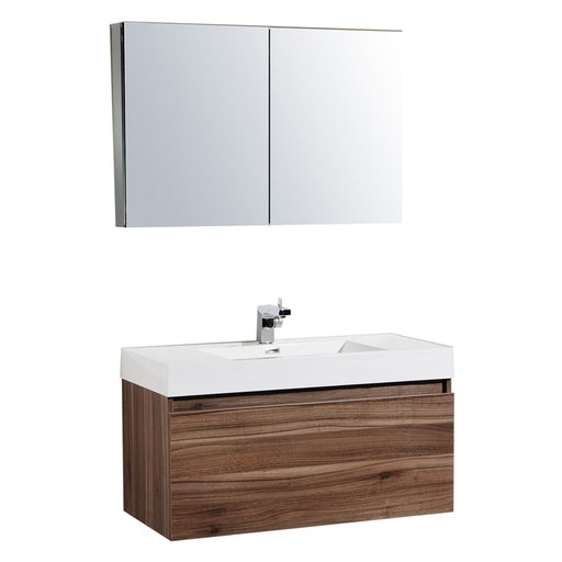 Aquamoon Venice 39 Sink Walnut  Wall Mounted Modern Bathroom Vanity Set