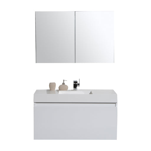 Aquamoon Venice 39 Infinity Sink White Wall Mounted Modern Bathroom Vanity Set - Bath Trends USA