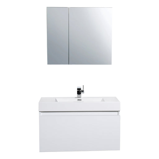 Aquamoon Venice 39 Sink White  Wall Mounted Modern Bathroom Vanity Set