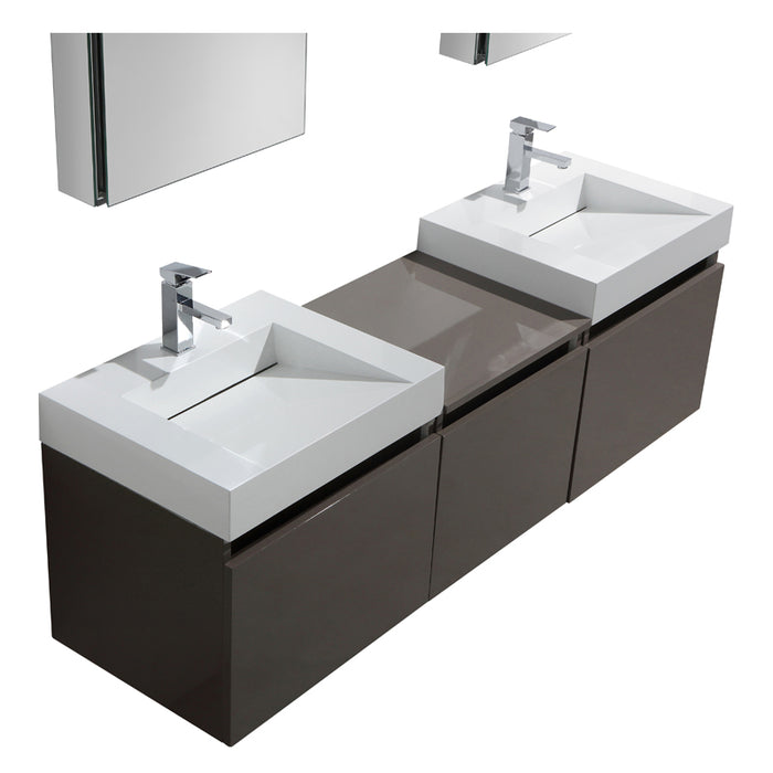 Aquamoon Venice 69 Double Infinity Sink Grey Brown Wall Mounted Modern Bathroom Vanity Set