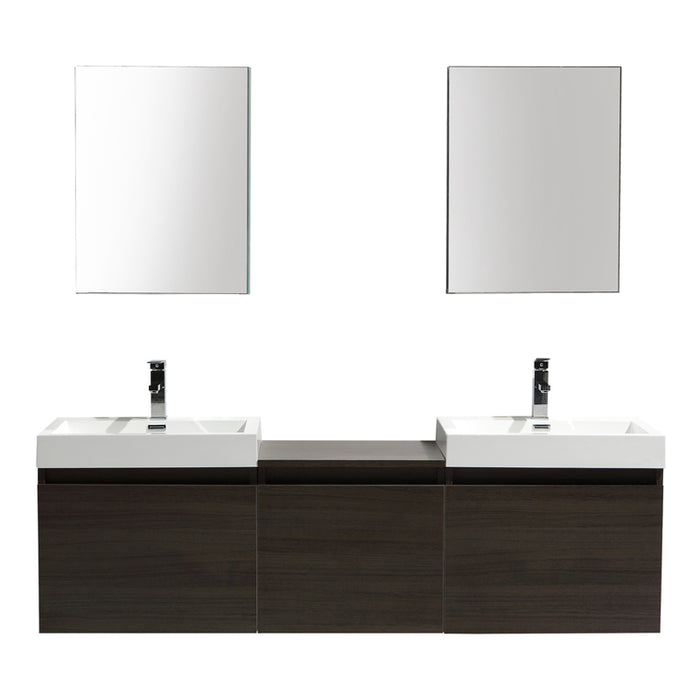Aquamoon Venice 69 Double Infinity Sink Maple Grey  Wall Mounted Modern Bathroom Vanity Set
