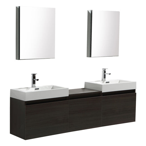Aquamoon Venice 69 Double Sink Maple Grey Wall Mounted Modern Bathroom Vanity Set - Bath Trends USA
