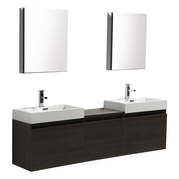 Aquamoon Venice 69 Double Sink Maple Grey  Wall Mounted Modern Bathroom Vanity Set