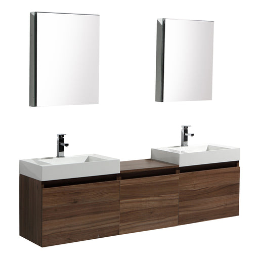 Aquamoon Venice 69 Double Sink Walnut  Wall Mounted Modern Bathroom Vanity Set