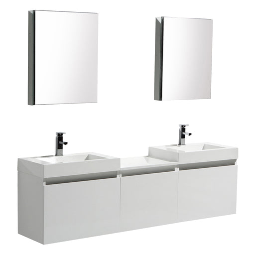 Aquamoon Venice 69 Double Infinity Sink White  Wall Mounted Modern Bathroom Vanity Set