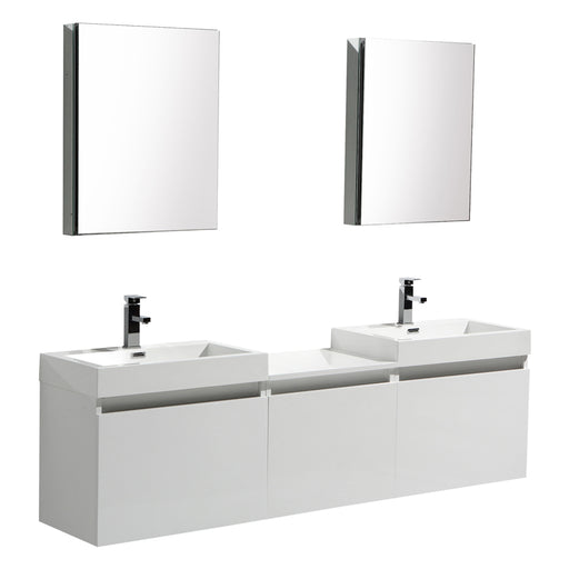 Aquamoon Venice 69 Double Sink White  Wall Mounted Modern Bathroom Vanity Set