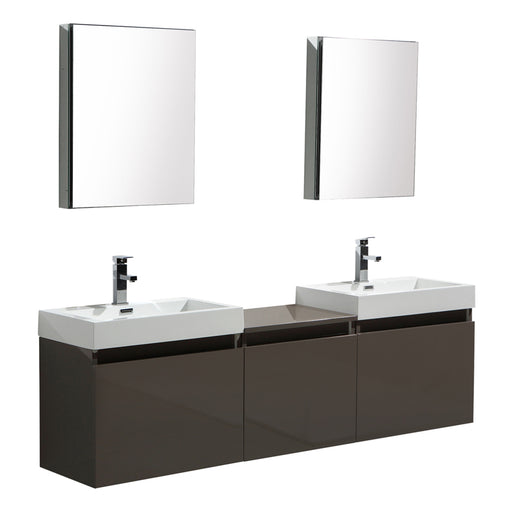 Aquamoon Venice 93 Double Sink Maple Grey Wall Mounted Modern Bathroom Vanity Set - Bath Trends USA