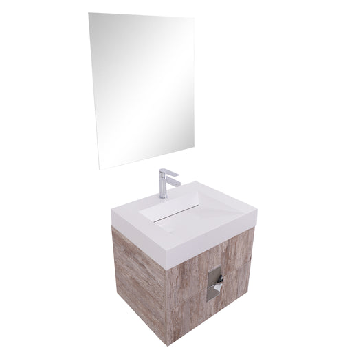 Aquamoon Venus 24 Infinity Sink Ashwood Wall Mounted Modern Bathroom Vanity Set - Bath Trends USA