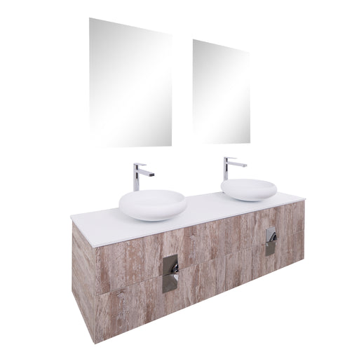 Aquamoon Venus 63 Double Sink 1153 Ashwood Wall Mounted Modern Bathroom Vanity Set - Bath Trends USA