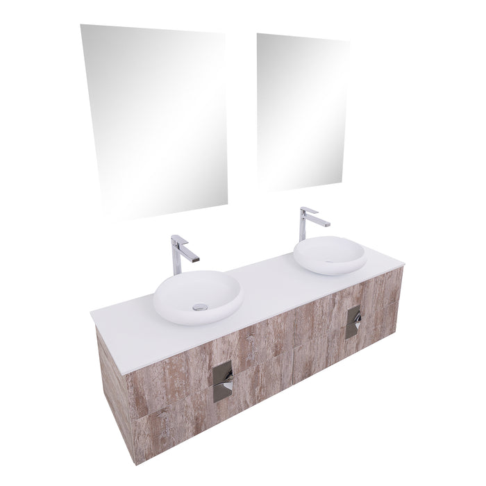 Aquamoon Venus 63 Double Sink 1153 Ashwood Wall Mounted Modern Bathroom Vanity Set