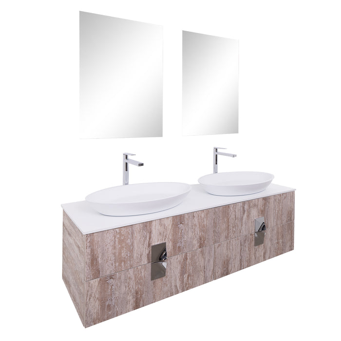 Aquamoon Venus 63 Double Sink 1305  Ashwood Wall Mounted Modern Bathroom Vanity Set