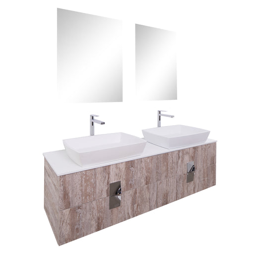 Aquamoon Venus 63 Double Sink 1316 Ashwood Wall Mounted Modern Bathroom Vanity Set - Bath Trends USA