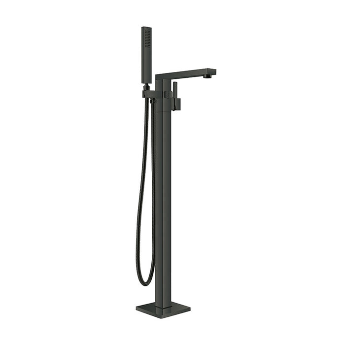 Aquamoon Atlas Freestanding Black Bathtub Faucet Tub Filler Floor Mount Single Handle With Hand Shower - Bath Trends USA