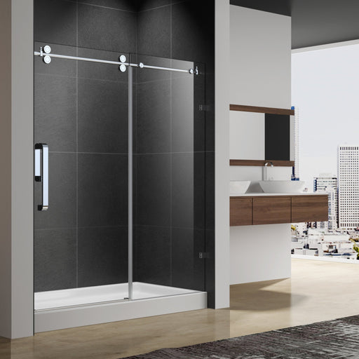 "Aquamoon Sky  Frameless Sliding Door   60 ""X 76"" Clear Tempered Glass, Brushed Nickel"