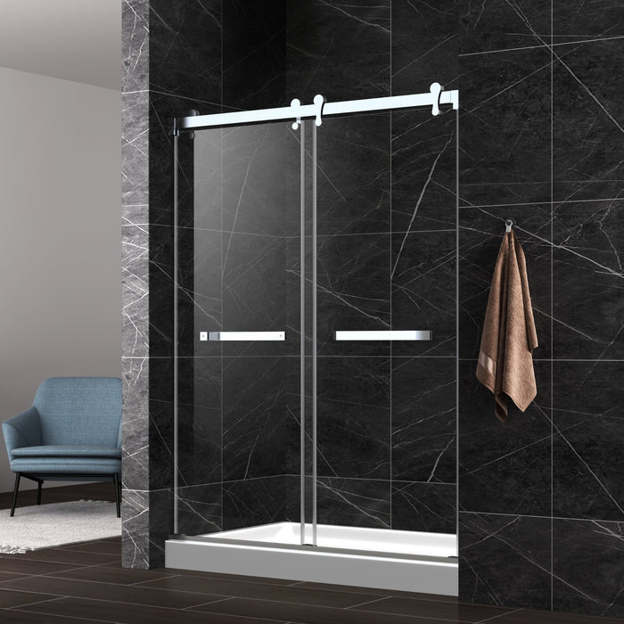 "Aquamoon Lucca Semi- Frameless Bypass Sliding Shower Door   60 ""X 76"" Clear Tempered Glass, Chrome"