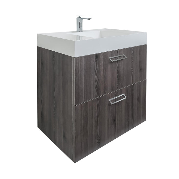 Aquamoon Sunrise Wall Mounted Modern Bathroom Vanity Set-Pinewood - Bath Trends USA