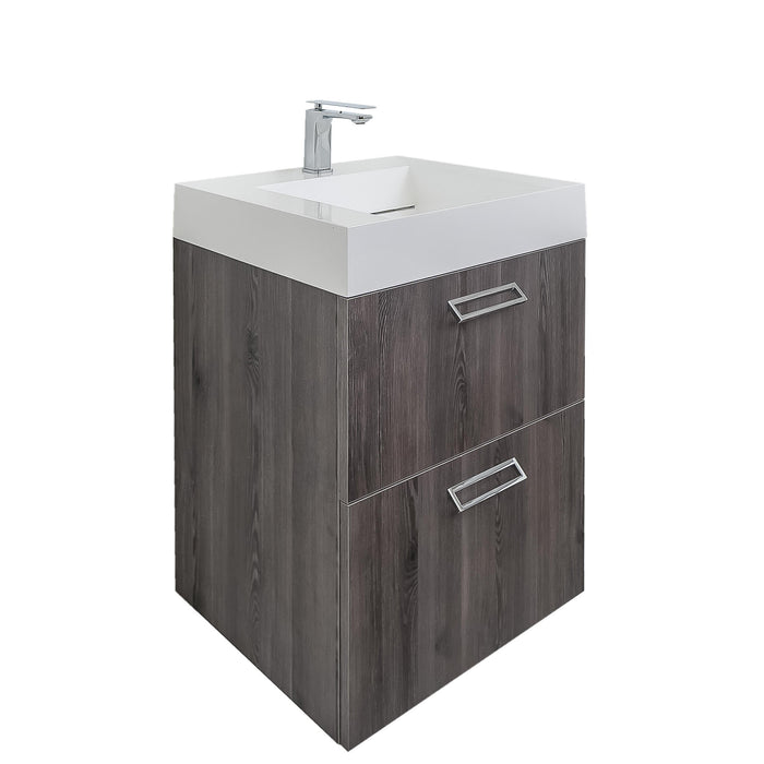 Aquamoon Sunrise Wall Mounted Modern Bathroom Vanity Set-Pinewood