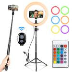 10 Inch RGB LED Ring Light with Remote Control, Phone Holder & Tripod