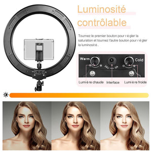 "AIXPI 18"" LED Ring Light with Tripod Stand, Dimmable LED Ring Light 3 Light Modes"