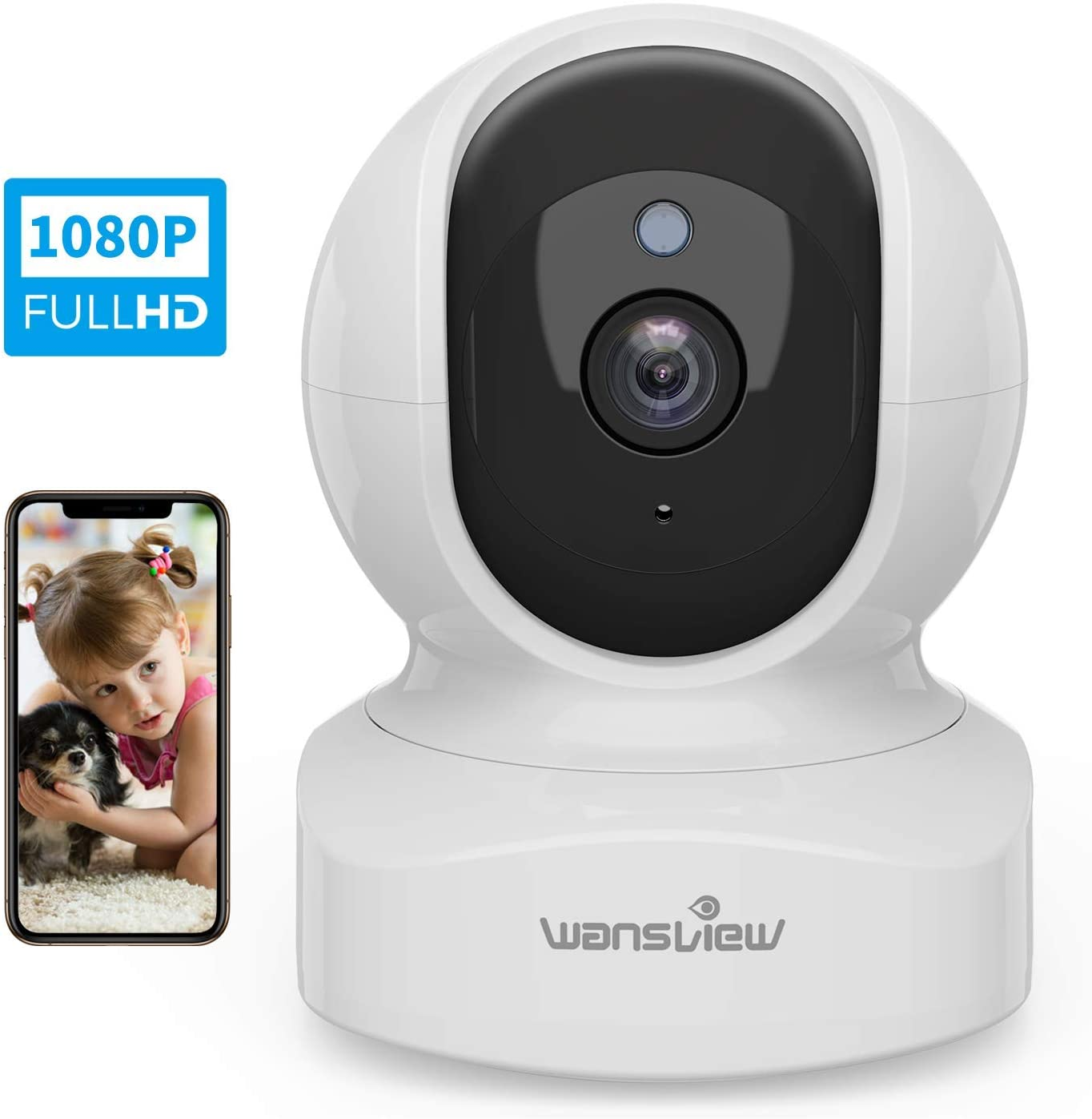 Wansview Wireless Security Camera, IP Camera 1080P HD, WiFi Home Indoor Camera for Baby/Pet/Nanny, Motion Detection, 2 Way Audio Night Vision, Works with Alexa, with TF Card Slot and Cloud