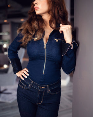 <b>IRIS DENIM</b><br>DENIM BODYSUIT WITH FRONT ZIPPER