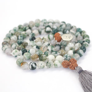 Green Tree Agate Abundance Mala Beads