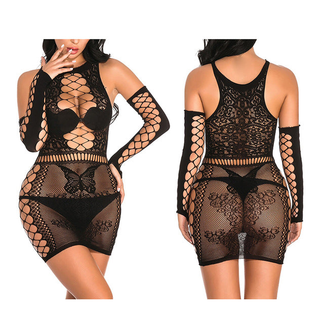 Lace Fishnet Dress. Beautiful lace to cover the essentials just enough to leave something for the imagination Devilish Black.