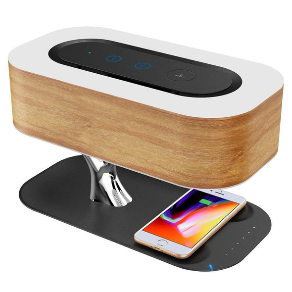 Wooden LED Bedside Lamp with Bluetooth Speaker and Wireless Charger Sleep Mode Stepless Dimming