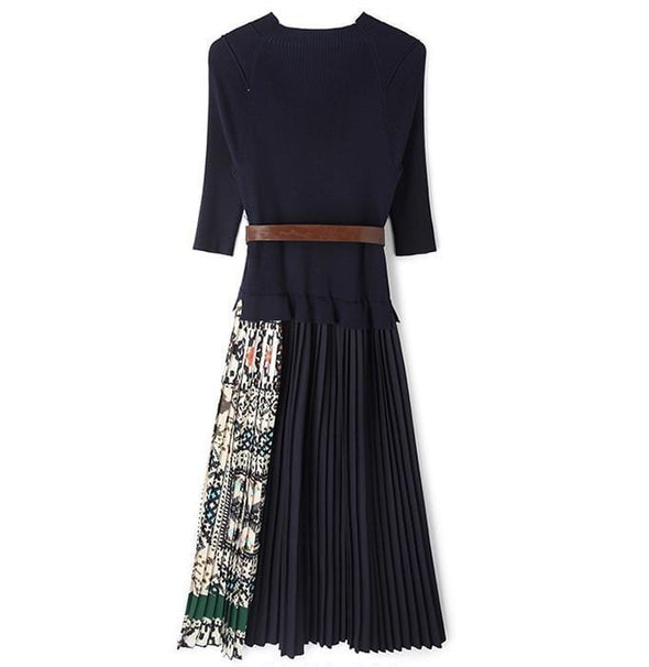 Patchwork Spliced Midi Dress