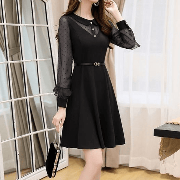 The Ruffles Butterfly Long Sleeve and High Waist Autumn Dress