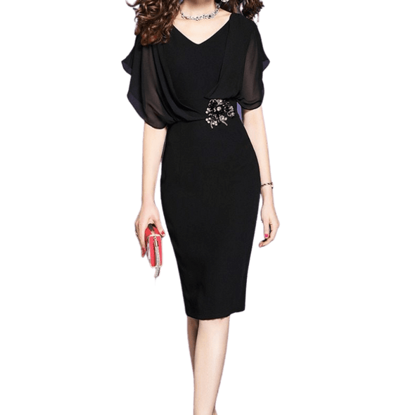 Elegant Black Dress with Flare Sleeves