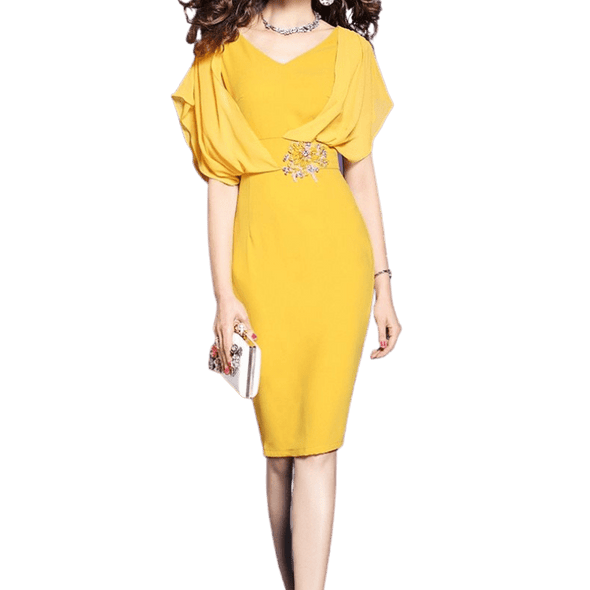 Elegant Yellow Dress with Flare Sleeves